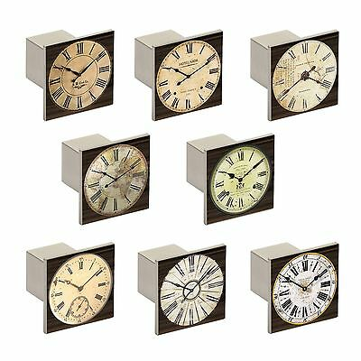 Budget Aluminium Square Knobs Clock Face 36.5mm Cupboard Drawer Door Handles