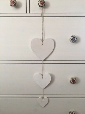 Vintage Style Wooden Hanging Hearts 3 Painted White Grey Decoration