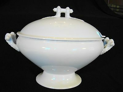 T & R Boote White Ironstone Savoy Pattern Oval Soup Tureen & Cover 1890-1906