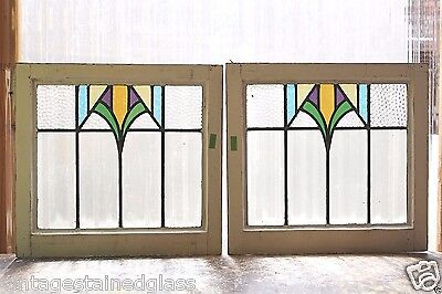 Pair of Antique Stained Glass Windows Five Colors Arts n Crafts (2932)
