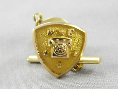Western Electric Telephone 4 Star Service Pin 10k Yellow Gold 1.2dwt / 1.8g