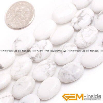 Natural 10x14mm White Howlite Turquoise Gemstone Oval Beads For Jewelry Making