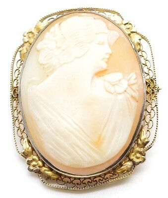 """Antique Shell Cameo Brooch with Sterling Silver Filigree Framed Border 2"""" Large"""