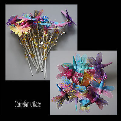 Dragonfly Fairy Wand x 12 BULK wands Purple, Pink, Blue Party Favour Resell #DF