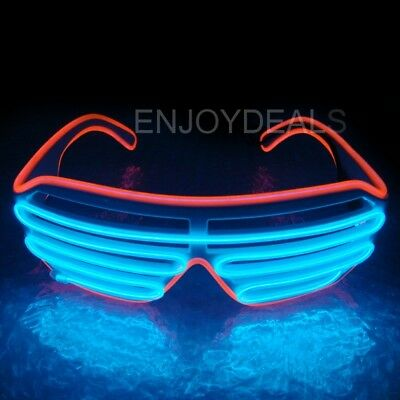 El Wire Neon LED Light Up Shutter Shaped Glasses for Costume Party Red+Blue Fine