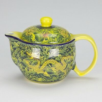Antique style asian porcelain Teapot infuser yellow dragon mark tea for one