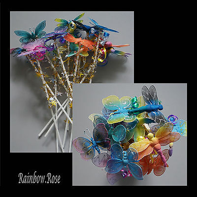 Butterfly & Dragonfly Fairy Wand x 12 BULK wands Party Favour Gift Resell #F