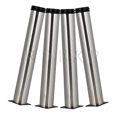 4x Stainless Steel Silver Office Sofa Coffee Table Leg 350mm Height Adjustable