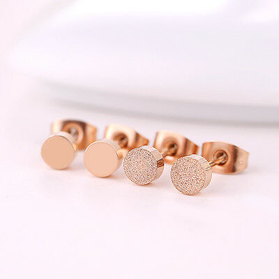 Women Man 18K Rose Gold GP Polished Frosted 5mm Cute Round Shaped Stud Earrings