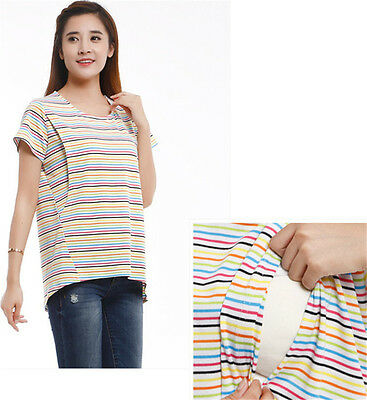 Pregnant Women Tops Spring Summer Striped Breastfeeding Postpartum Shirt T-shirt