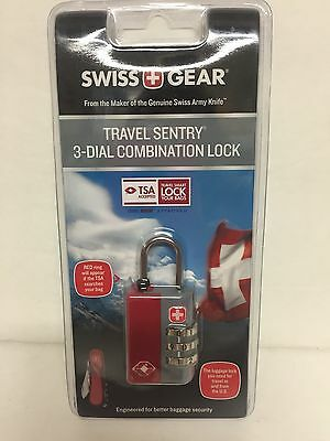 SWISS GEAR Travel Sentry 3-Dial Combination Lock - Red & Gray army combo TSA NIP