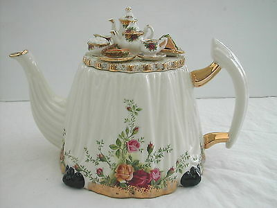 * Grande Theiere Teapot Porcelaine Anglaise Royal Albert Old Country Roses 1996