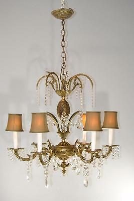 Antique 6 Arm French Style Brass & Cutt Glass Chandelier Light Fixture