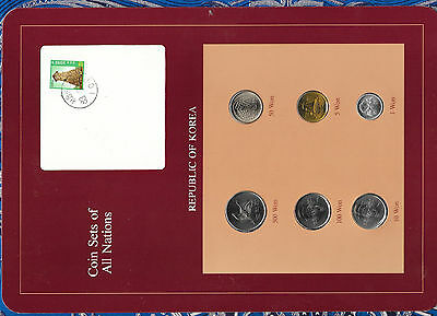Coin Sets of All Nations Korea UNC 1, 5, 50,100 Won 1983 500 Won 1984 ERROR
