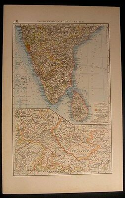 Southern India 1899 showing Colonial colonies antique color map