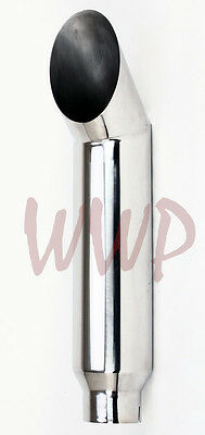 """Polished Stainless Cat Miter Cut Smoker Exhaust Stack 5""""Inlet 7""""Outlet 36""""Length"""