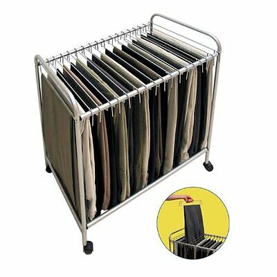 Storage Dynamics RET3616 Rolling Pants Trolley Hanger Slacks Organizer Rack New