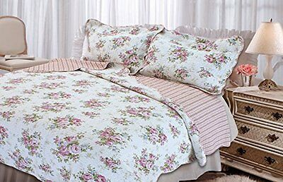 Textiles Plus Quilted Cottage Spring Rose Quilt set  King NEW