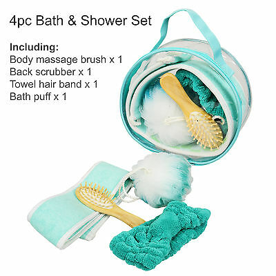 4pc Bath Set, Shower Gift Set, Bath Accessories, Shower Puff