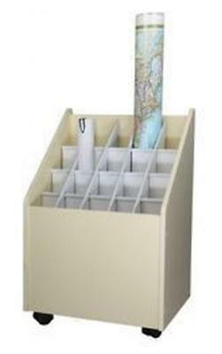 Adir Mobile Wood Roll File 20 Comp.-Putty 624 Roll Storage File NEW