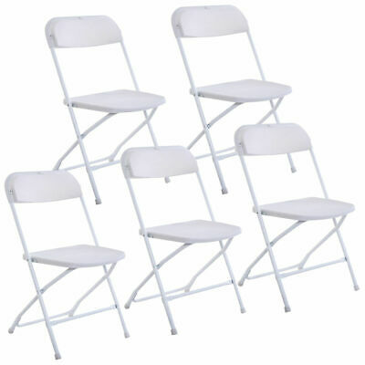 New Set of 5 Plastic Folding Chairs Wedding Party Event Chair Commercial White