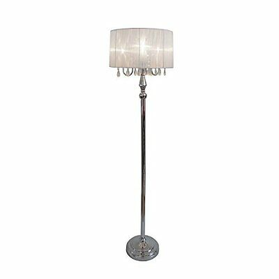 LF1002-WHT Sheer Shade Chrome Floor Lamp with Hanging Crystals, White