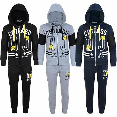 Kids Emoji Chicago Print 2-Piece Tracksuit Boys Girls Bottoms Hooded Top 3-14 Y