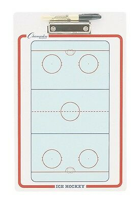 "NEW Champion Dry Erase 2 Sided Ice Hockey Coaches Play Board & Marker 11""x16"""