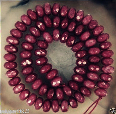 Natural 5x8mm Facted Brazilian Ruby Abacus Loose Bead 15""