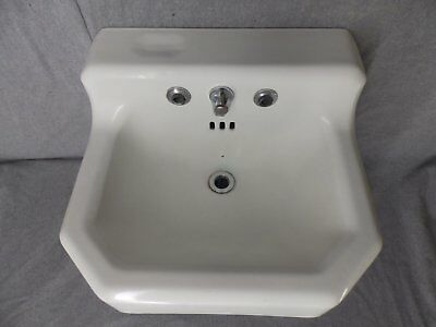 Vtg Cast Iron White Porcelain Sink Bathroom Lavatory Standard Plumbing 324-16