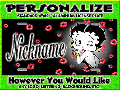 Betty Boop Blowing Kisses Background PERSONALIZED FREE Monogrammed License Plate