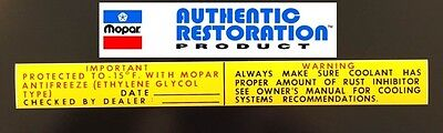 1962-1968 Chrysler Plymouth Dodge Antifreeze Coolant Warning Decal Mopar New