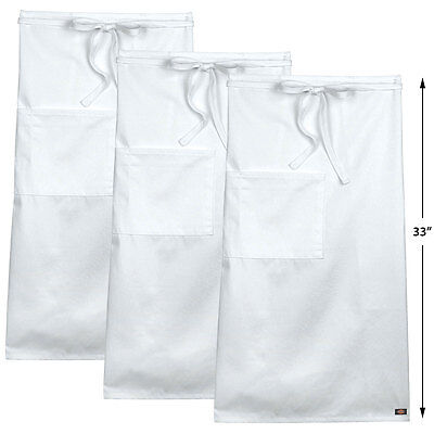 "3-PACK Dickies Chef Full Bistro Apron with Patch Pocket, 33"" Long, DC508"