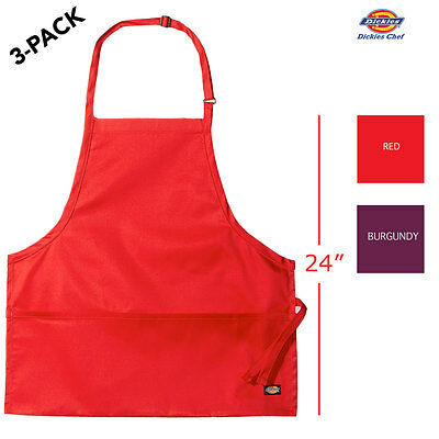 "3-PACK Dickies Chef Apron 26"" Long, Adjustable Neck and Pocket DC520"