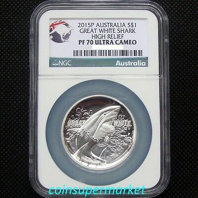 2015 Australia The Great White Shark 1oz Silver Proof High Relief Coin NGC PF 70