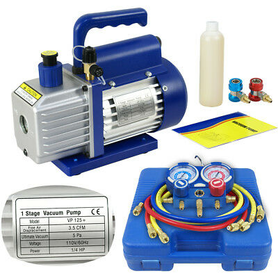 Dual Gauge A/C Diagnostic Manifold Tester Set R134a + 3CFM 1/4HP Vacuum Pump KIT