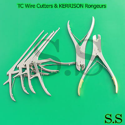 """TC Wire Cutters & KERRISON Rongeurs 7.5"""" (1,2,3,4mm) Orthopedic Instruments"""