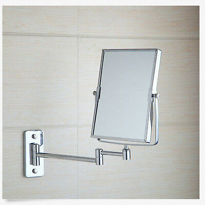 Square Brass Chrome Wall Mounted Makeup mirror Dual Sides Magnifying Costemic