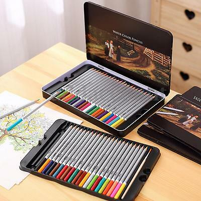 Assorted 24/36/48/72 Watercolor Water Soluble Pencil Iron Case Drawing Sketching