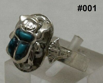 "Hallmark Egyptian Pharaonic Silver Rings "" Scarab,Ankh,Eye of Horus"" ,Variety"