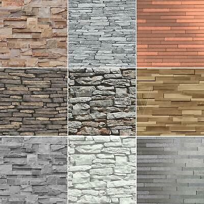 Slate Stone Wall Effect Wallpapers – Modern Feature Wall - Grey Black Natural