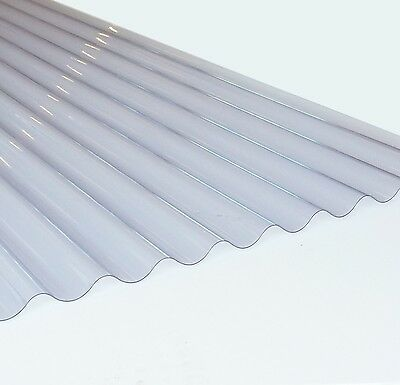 Plastic Corrugate Roofing Sheet, Clear, 3inch Profile, 0.8mm Lightweight