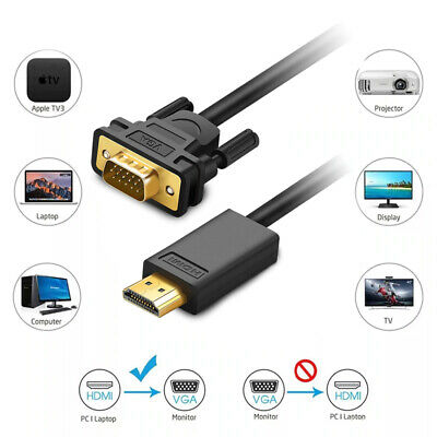 1m 2m 3m HDMI to VGA Cable male to male Video Adapter Lead for HDTV PC Laptop