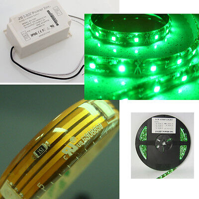 "Bundle Deal: you get Green LED Ribbon Strip light 197"" roll + AC/DC Power Supply"