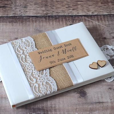 Hessian Lace Wedding Guest Book - Rustic Wooden Hearts, Personalised, Handmade