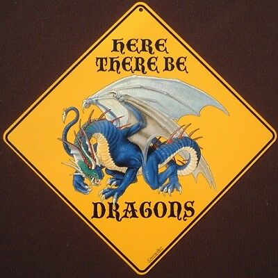 DRAGON CROSSING SIGN ALUMINUM decor novelty fantasy dragons animals home signs