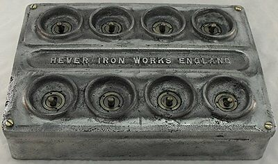 NEW Cast Metal Vintage Industrial 8 Gang Light Switch - BS EN Approved