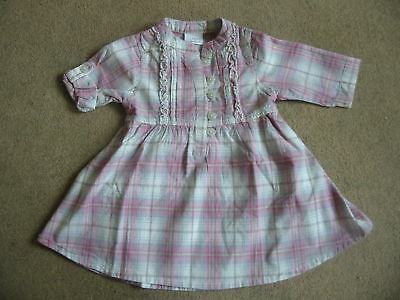 BNWT NEXT Girls Pink Grey Check Dress Roll Sleeve 4-5 Years