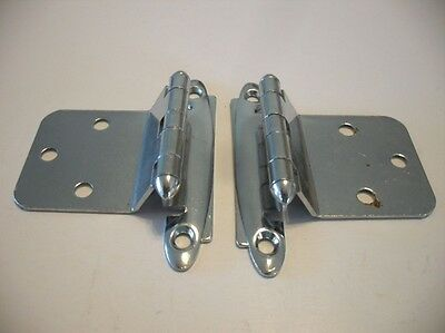 Vintage NOS Chrome Steel Cabinet Hinges For Reverse Bevel Slab Doors Amerock