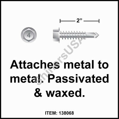 (1000) 14-14x2 Hex Washer Head 410 Stainless Self Drilling TEK Screw #138068